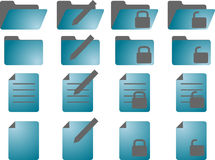 Document icons. Document folder icon set, with different statuses Royalty Free Stock Photography