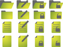 Document icons. Document folder icon set, with different statuses Royalty Free Stock Images