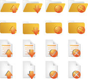 Document icons. Document folder icon set, with different operations Royalty Free Stock Images