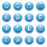 Document icons on blue buttons, set 1. Royalty Free Stock Photo