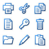 Document icons, blue contour Stock Images