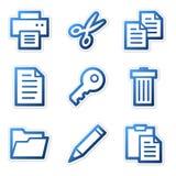 Document icons, blue contour vector illustration