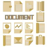 Document icons. Book and document icons in cardboard and brown color theme Stock Images