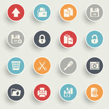 Document icons with color buttons on gray background. Royalty Free Stock Photography