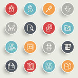 Document icons with color buttons on gray background. Stock Photography