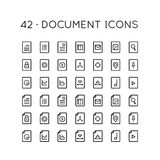 42 Document Icons. 42 icons for documentation purposes. such as summary, resume, job application, mail storage, chart, secret files, setting, etc Stock Image