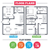 Document icons. Download file and checkbox. Architecture plan with furniture. House floor plan. File document icons. Download file symbol. Edit content with Royalty Free Stock Image