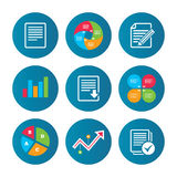 Document icons. Download file and checkbox. Business pie chart. Growth curve. Presentation buttons. File document icons. Download file symbol. Edit content with Royalty Free Stock Image