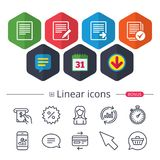 Document icons. Download file and checkbox. Royalty Free Stock Photo
