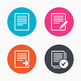 Document icons. Download file and checkbox. Circle buttons. File document icons. Download file symbol. Edit content with pencil sign. Select file with checkbox Stock Image