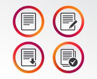 Document icons. Download file and checkbox. File document icons. Download file symbol. Edit content with pencil sign. Select file with checkbox. Infographic Royalty Free Stock Photography