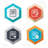 Document icons. Download file and checkbox. Hexagon buttons. File document icons. Download file symbol. Edit content with pencil sign. Select file with checkbox Stock Images