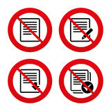 Document icons. Download file and checkbox. No, Ban or Stop signs. File document icons. Download file symbol. Edit content with pencil sign. Select file with Royalty Free Stock Image