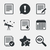 Document icons. Download file and checkbox. File document icons. Download file symbol. Edit content with pencil sign. Select file with checkbox. Attention Royalty Free Stock Images