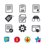 Document icons. Download file and checkbox. Stock Image