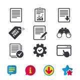 Document icons. Download file and checkbox. Stock Images