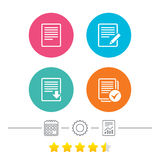 Document icons. Download file and checkbox. File document icons. Download file symbol. Edit content with pencil sign. Select file with checkbox. Calendar Royalty Free Stock Photography