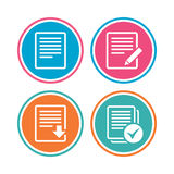 Document icons. Download file and checkbox. File document icons. Download file symbol. Edit content with pencil sign. Select file with checkbox. Colored circle Royalty Free Stock Photos