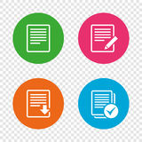 Document icons. Download file and checkbox. File document icons. Download file symbol. Edit content with pencil sign. Select file with checkbox. Round buttons Royalty Free Stock Photo