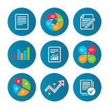 Document icons. File with chart and checkbox. Business pie chart. Growth curve. Presentation buttons. File document icons. Document with chart or graph symbol Stock Photography