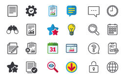 Document icons. File with chart and checkbox. File document icons. Document with chart or graph symbol. Edit content with pencil sign. Select file with checkbox Royalty Free Stock Photos