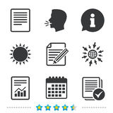 Document icons. File with chart and checkbox. File document icons. Document with chart or graph symbol. Edit content with pencil sign. Select file with checkbox Stock Photos
