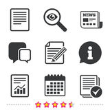Document icons. File with chart and checkbox. File document icons. Document with chart or graph symbol. Edit content with pencil sign. Select file with checkbox Stock Image
