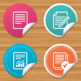 Document icons. File with chart and checkbox. Round stickers or website banners. File document icons. Document with chart or graph symbol. Edit content with Royalty Free Stock Images