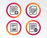 Document icons. File with chart graph. File document icons. Document with chart or graph symbol. Edit content with pencil sign. Add file. Infographic design Stock Photo