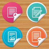 Document icons. File with chart graph. Round stickers or website banners. File document icons. Document with chart or graph symbol. Edit content with pencil Stock Photo