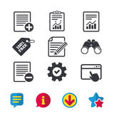 Document icons. File with chart graph. File document icons. Document with chart or graph symbol. Edit content with pencil sign. Add file. Browser window, Report Stock Images