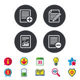 Document icons. File with chart graph. Stock Images