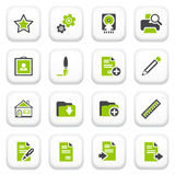 Document icons. Green gray series. Stock Photos