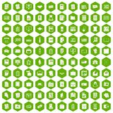 100 document icons hexagon green. 100 document icons set in green hexagon isolated vector illustration Stock Image