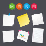 Document icons. Search, delete and edit file. Business paper banners with notes. File document icons. Search or find symbol. Edit content with pencil sign Royalty Free Stock Image