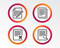 Document icons. Search, delete and edit file. File document icons. Search or find symbol. Edit content with pencil sign. Remove or delete file. Infographic Royalty Free Stock Image