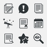 Document icons. Search, delete and edit file. File document icons. Search or find symbol. Edit content with pencil sign. Remove or delete file. Attention Stock Images