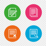 Document icons. Search, delete and edit file. File document icons. Search or find symbol. Edit content with pencil sign. Remove or delete file. Round buttons on Royalty Free Stock Images