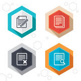 Document icons. Search, delete and edit file. Hexagon buttons. File document icons. Search or find symbol. Edit content with pencil sign. Remove or delete file Royalty Free Stock Image