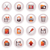 Document icons, set 1. Black red series. Vector icons set for websites, guides, booklets Stock Photos