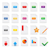 Document icons set. Set of vector 20 document icons isolated on white Royalty Free Illustration