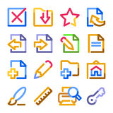 Document icons, set 2. Color contour series. Royalty Free Stock Photography