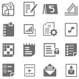 Document icons. Set of 16 document icons Royalty Free Stock Photo