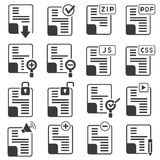Document icons. Set of 16 document icons Stock Images