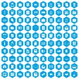 100 document icons set blue. 100 document icons set in blue hexagon isolated vector illustration Royalty Free Stock Images