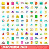 100 document icons set, cartoon style Royalty Free Stock Photos