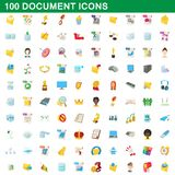 100 document icons set, cartoon style. 100 document icons set in cartoon style for any design illustration vector illustration