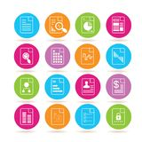 Document icons. Set of 16 document icons in colorful buttons Royalty Free Stock Photos