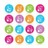Document icons. Set of 16 document icons on colorful buttons Royalty Free Stock Photography