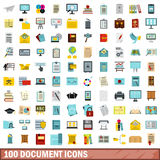 100 document icons set, flat style. 100 document icons set in flat style for any design vector illustration Stock Photos